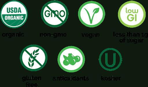 USDA Certified Organic Non-GMO Vegan Low Glycemic Index Gluten Free Antioxidant Rich Kosher Keto Breakfast Smoothie