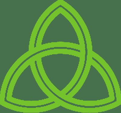 mindbodysoul thin green triquetra trinity knot