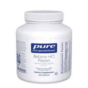Betaine HCI Pepsin 250ct by Pure Encapsulations