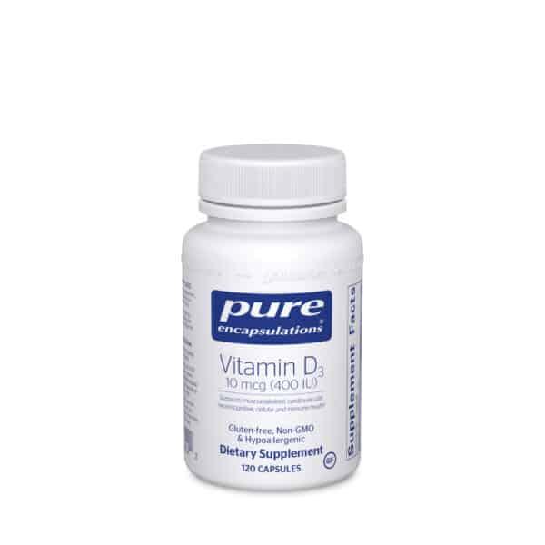 Vitamin D3 10 mcg (400 IU) 120ct by Pure Encapsulations